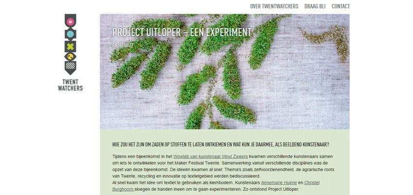 Twentwatchers: Project Uitloper – een experiment